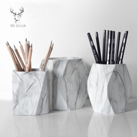 Nordic Style Marble Print Pen Holder Pencil Case Makeup Brush Storage Box Creative Home Office Desk Ornaments Stationery Gifts