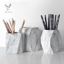 İskandinav tarzı mermer baskı kalemlik kalem kutusu makyaj fırçası saklama kutusu yaratıcı ev ofis masası süsler kırtasiye hediyeler