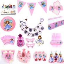 Cartoon Princess Sofia Baby Shower  Party Decor Paper tableware Decoration Set Supplies kids birthday set