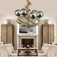 led e27 Loft Iron Glass Hemp Rope Magic Bean LED Lamp LED Light.Pendant Lights.Pendant Lamp.Pendant light For Foyer Store