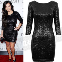 Celebrity Style Kim Kardashian Shiny Sequin Dress Open Back Sequin Sexy Bodycon Evening Party Club Dress Black Red xxl