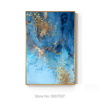 Abstract Golden Foil Canvas Painting Blue Painting Big Wall Art Picture For Living Room Nordic Tableaux Abstract Blue Poster