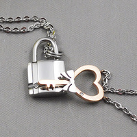 Sweety Heart Key Lock For Lovers 2015 Stainless Steel Fashion Necklaces Couples Men Women Jewelry Free