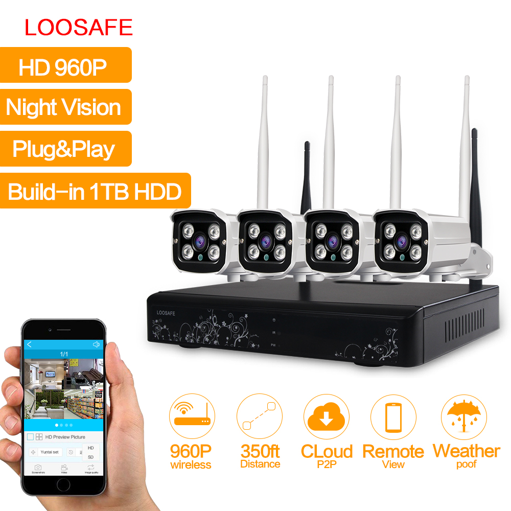 loosafe wifi cctv system kit 4ch wireless nvr ip camera 960p bullet cctv kit home security. Black Bedroom Furniture Sets. Home Design Ideas