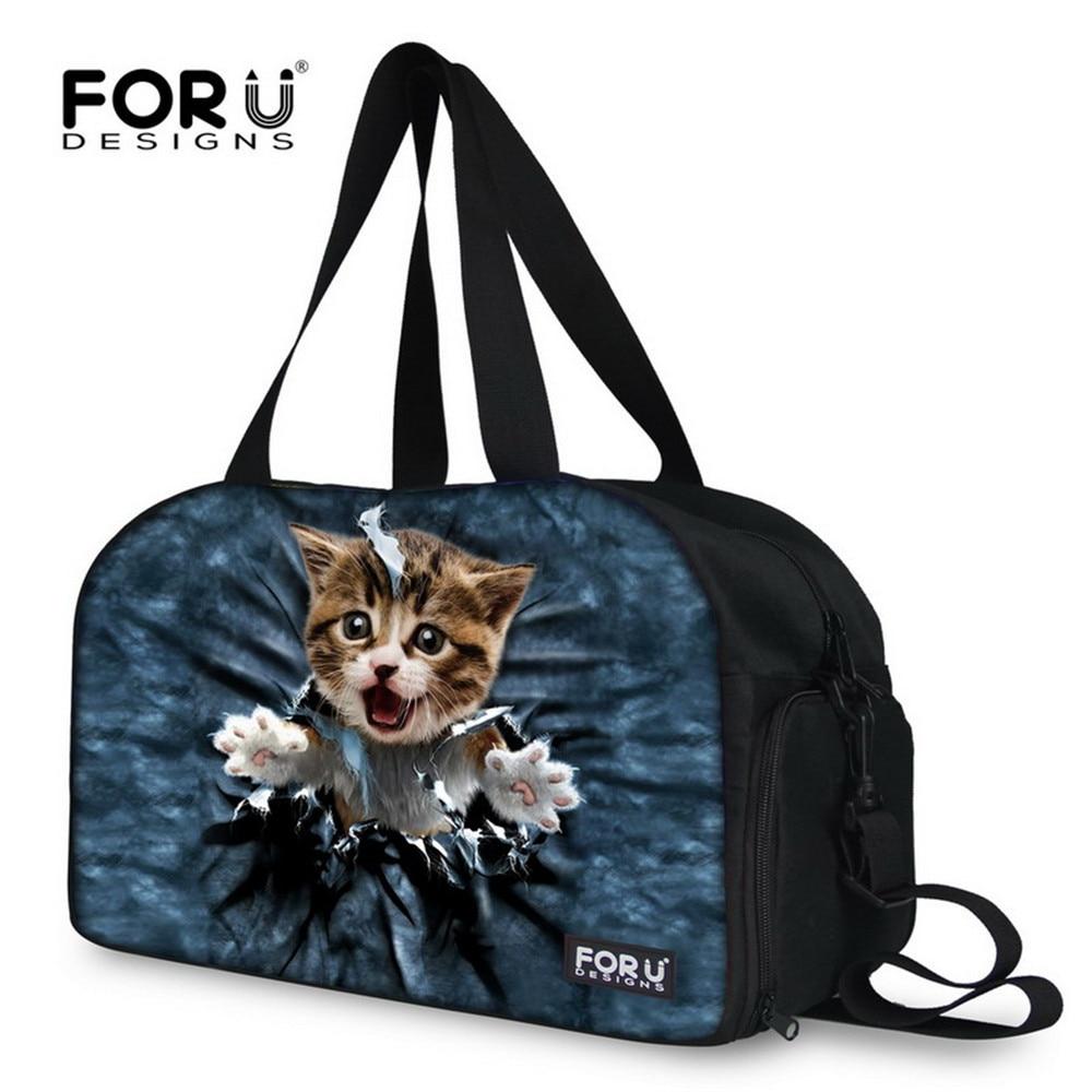 FORUDESIGNS Denim Cat Nylon Gym Bag Sports Bags Woman Men Travel Duffel For Fitness/Yoga/Waling/Jogging Separated Wet & Dry Bags