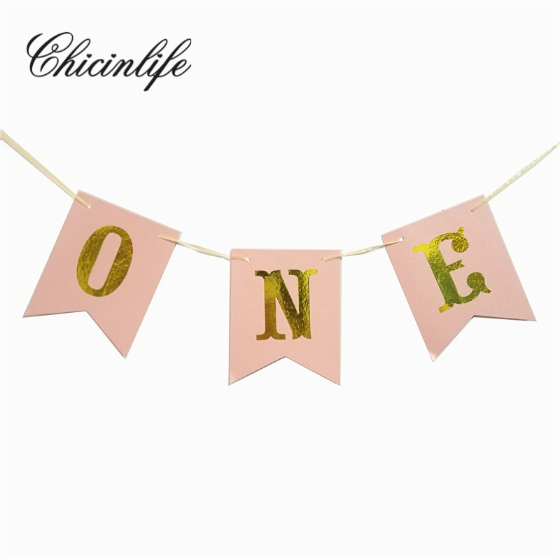 Chicinlife 1Set happy First birthday Pink ONE Banner baby party decorations Photo Booth Props Garland baby Shower decoration