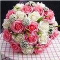 O Envio gratuito de 2017 Romântico vestido de Casamento Da Dama de Honra Rosa Artificial Bouquets De Casamento Flores Bouquets de Noiva Em Estoque Feito À Mão