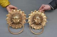 Crafts Statue Chinese Feng Shui Brass Foo Dog Lion Head Evil Spirits Statue Door Latch Knocker