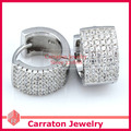 Carraton ESCH8053 Solid 925 Sterling Silver Six Row CZ Huggie Earrings