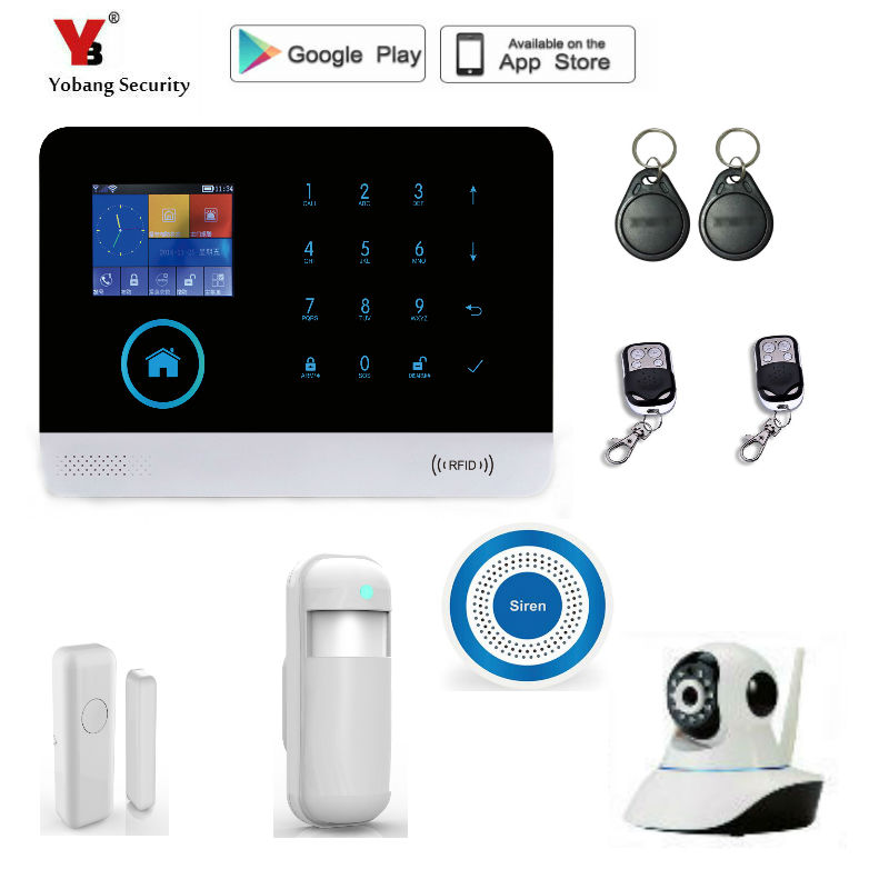 Yobang Security Wireless wifi GSM Home Security Alarm Home Protection GPRS Alarm System APP Control with indoor IP Camera bulk order price best ethernet alarm wireless tcp ip alarm gsm alarm system for smart home security protection alarm with app