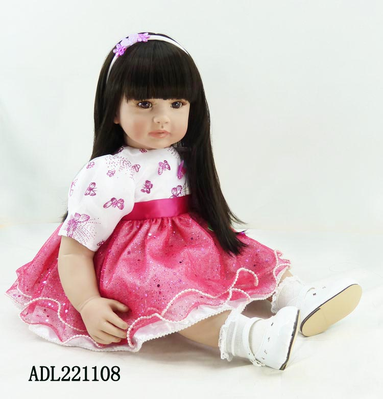 60cm silicone vinyl  reborn doll baby toy lifelike 24inch princess toddler doll brinquedos christmas new year gifts 2016 cotton body reborn babies lifelike princess girls doll toy rooted mohair gift for baby reborn poupon brinquedos new year