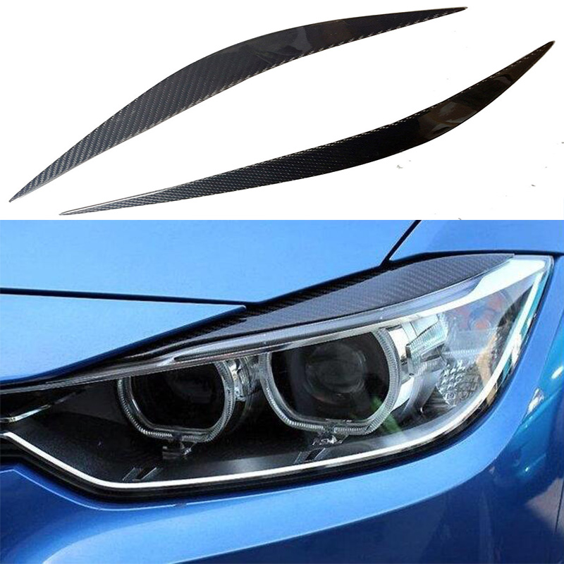 цена F32 F36 F82 Carbon Fiber Car Headlight Eyelid Eyebrows Cover trim Sticker for BMW F32 F36 F82 2014-2016 Free shipping