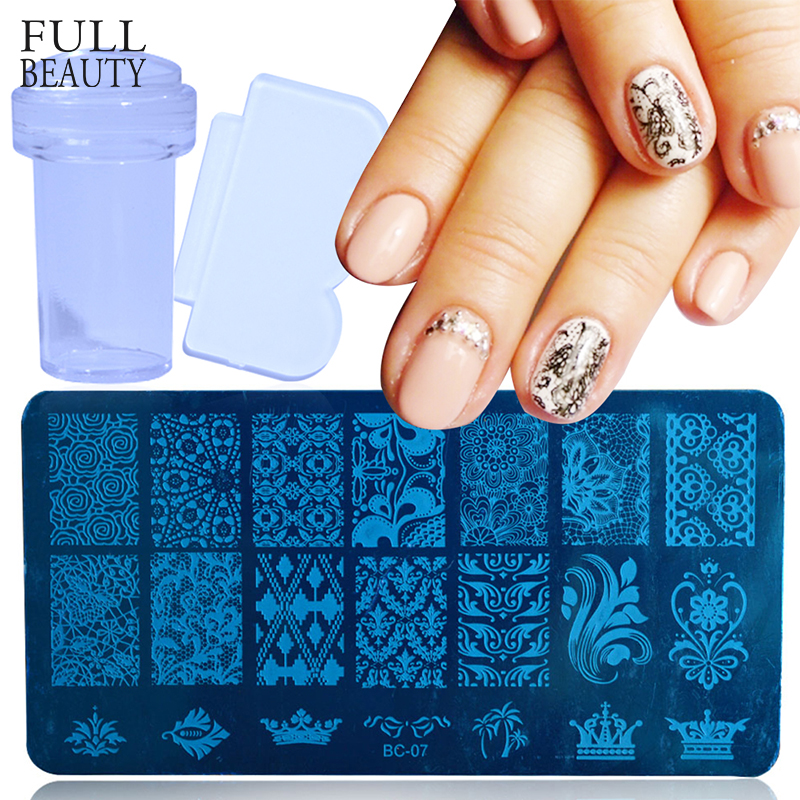 1 Set Lace Stamping Plate for Nail Art Design Flower 3D Transfer ...