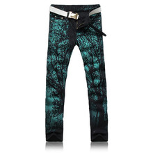 2016 Nightclub Mens Slim Printing Jeans Fashion Mens Straight Denim Pants Green Black P5094
