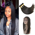 Cheap Pre Plucked 360 Lace Frontal With Bundle Peruvian Straight Human Hair 360 Lace Closure 4pcs/Lot 360 Frontal With Bundles
