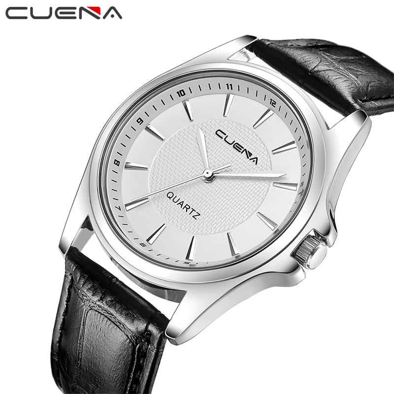 CUENA Fashion Quartz Watch Mens Watches Top Brand Luxury Genuine Leather Male Clock Waterproof Wristwatches Relogio Masculino men fashion quartz watch mans full steel sports watches top brand luxury cuena relogio masculino wristwatches 6801g clock