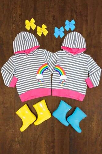 2018 Neue Kleinkind Regenbogen Streifen Hoodies Kind Baby Junge Mädchen Mit Kapuze Sweatshirt Oberbekleidung Kinder Casual Sweatshirt Kleidung