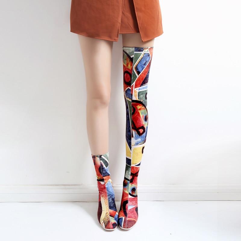 Boots Otoño Mujer Verano Boots Extraño Estilo Rodilla Moda Plaid Corto Boots Print Estiramiento Botas Impresión plaid Long Sobre La Cristal Tacón Short print 7TAn5xwERq