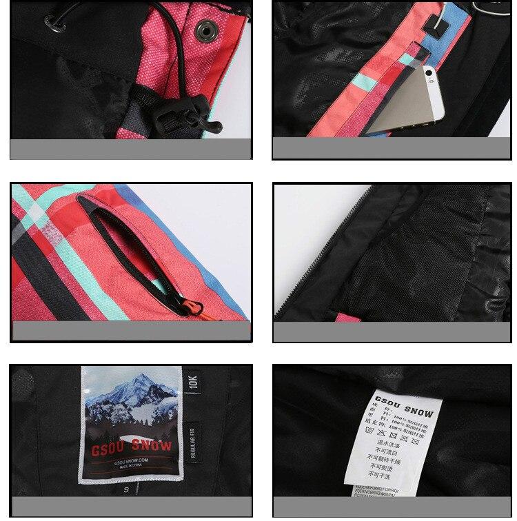 GSOU SNOW veste de Ski extérieure chaude pour femmes coupe-vent imperméable respirant simple Double planche veste de Ski pour femmes taille XS-L - 5