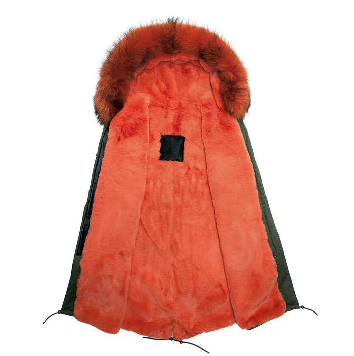 2016 Fahion Fur orange jacket, Real Fur Racoon Coat, Real Fur Coat For Male in Winter