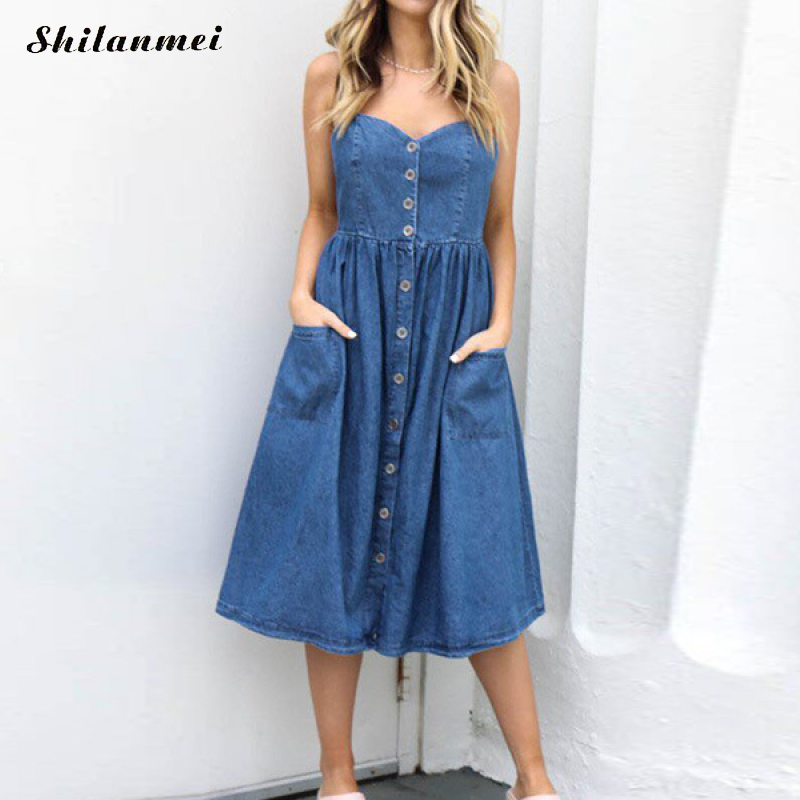 Sexy Summer Women Denim Dresses Loose Sleeveless Causal Sundress Spaghetti Strap Jeans Long Dress Elegant Party Vestidos Mujer