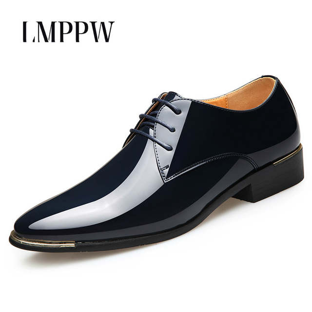 Top Quality Men Wedding Shoes Pointed Bright Patent Leather Men S