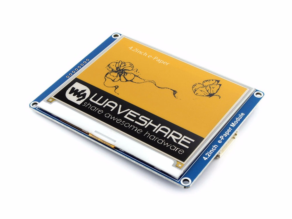 Waveshare 4.2inch E-Ink Display Module 400x300 E-paper Module Yellow Black White Three-color SPI No Backlight. Low Consumption