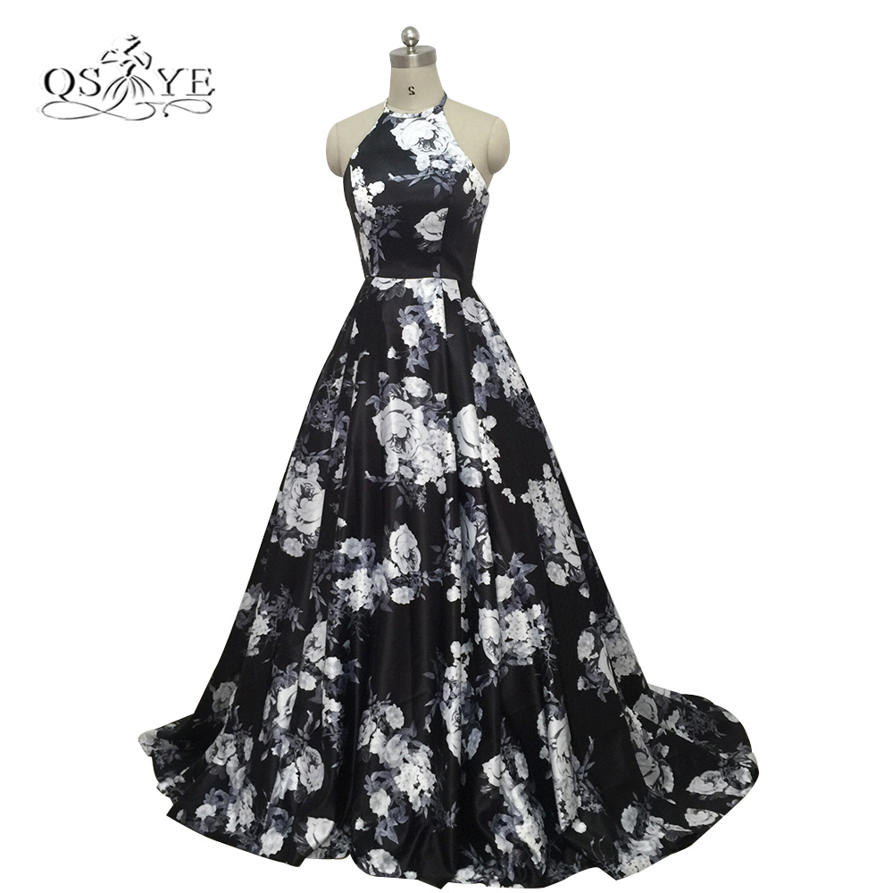 2018 New 3D Floral Flower Pattern Print Prom Dresses Robe de Soiree Sexy Open Sweep Train Formal Evening Party Gown Real Photo