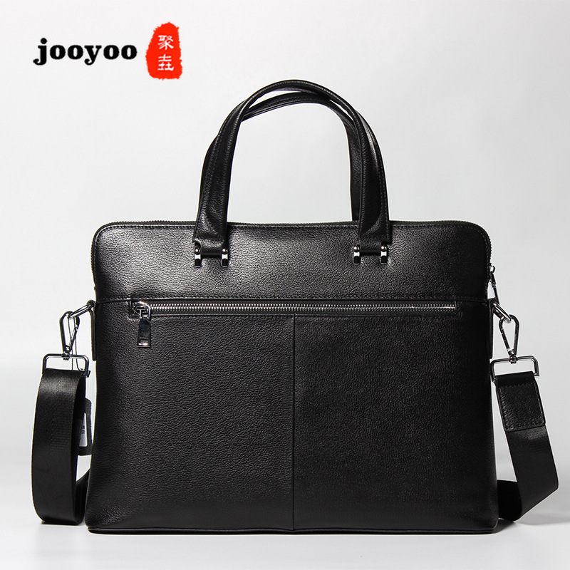 New Leather Mens Business Handbag Cow Leather Briefcase Cross Section Square Fine Grain Leather Solid Color Briefcase jooyooNew Leather Mens Business Handbag Cow Leather Briefcase Cross Section Square Fine Grain Leather Solid Color Briefcase jooyoo