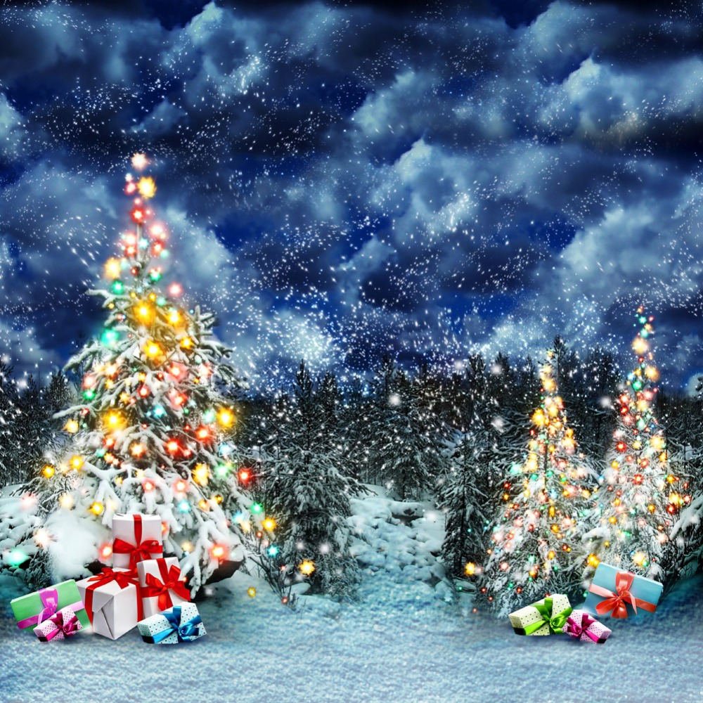 Blue Christmas Tree Wallpaper: 10x10FT Snowy Winter Night Blue Sky Christmas Trees Forest