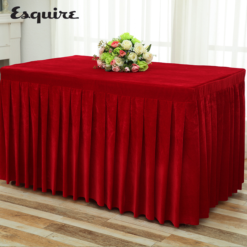 ESQUIRE Table Cloth Thicken Soft Velvet Fabric Tablecloth Conference Restaurant Banquet Home Supplies Decor Desk Skirting Cover