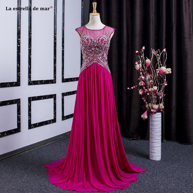 Gala dress2019 new Scoop neck lace chiffon crystal A Line rose red   prom     dress   long vestidos de gala real photo