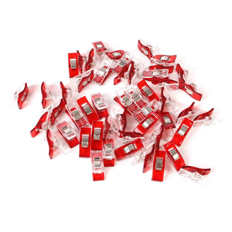 50 st Red Plastic Wonder Clips Hållare för DIY Patchwork Fabric Quilting Craft Syning Stickning Garment Clips användbara