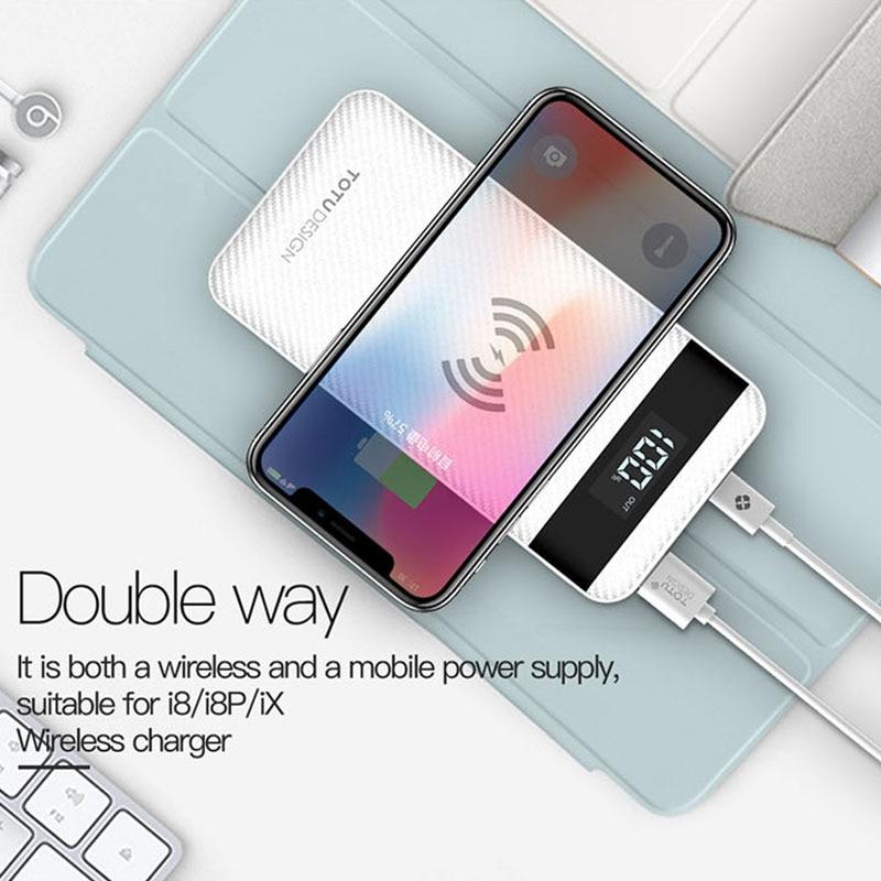 Nouveau 10000 mah QI Sans Fil Chargeur de batterie externe Pour iPhone X 8 Plus LED Affichage Double USB Externe chargeur de batterie portable Pour Samsung S8