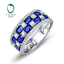 Caimao Jewelry 14k Gold 2.15ct Sapphire & 0.67ct Natural Diamond Engagement Band Free Shipping