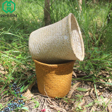 hot deal buy whism seagrass flower pot wicker storage basket straw handmade organizer garden planter nursery pots laundry bag home storage