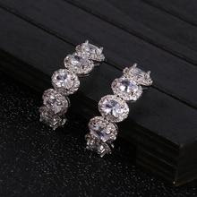 Colorful Water Drop shape Luxury Cubic Zirconia Copper Earrings Engagement Dubai Bridal Earring Bohemia Hot E6893