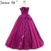 Purple Handmade Flowers Photography Wedding Dress Sleeveless Sexy Bridal Ball Gown Wedding Dress 2017 Serena Hill