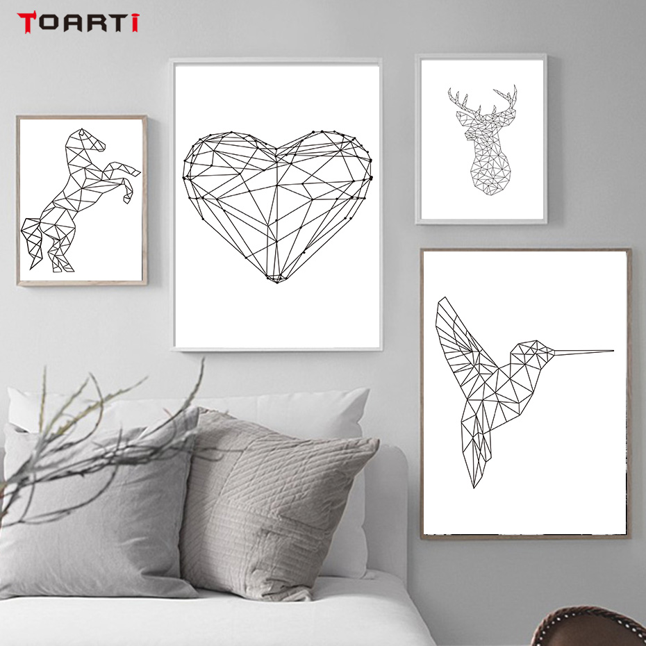 Geometric Deer Head Heart Shape Woodpecker Canvas Painting A4 No Frame Art Print Poster Home Decor Wall Pictures For Living Room