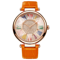 New Female Watch Woman Quartz Watch Lady Colorful Scale Waterproof Table Top Brand Rose Gold Clock Cut Crystal Lens Reloj Mujer
