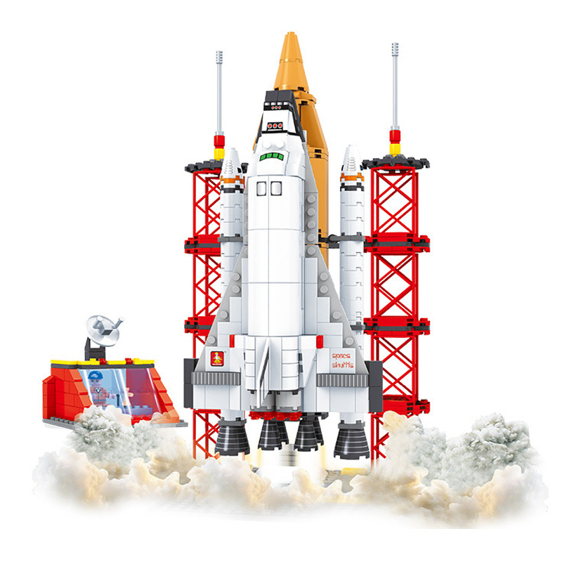 560PCS Space Series Apollo Space Shuttle Launching Base Enlighten Blocks Educational Model Building Blocks Toys For Kids Gifts legoe compatible enlighten bricks space shuttle space war diy educational toys for children gifts building blocks diy kit 593pcs