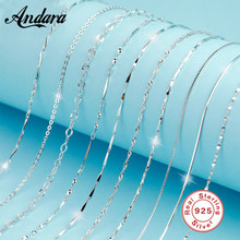Classic Basic Chain Real 925 Sterling Silver Lobster Clasp Adjustable Necklace Chain Fashion Jewelry