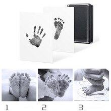 Детская Handprint форма в виде отпечатка ноги коврик безопасный легко чистить не беспорядок нетоксичные чернила Новорожденные фото рука ноги Печать Pad Keepsake