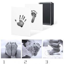 Отпечаток руки ребенка форма в виде отпечатка ноги Pad безопасный легко чистить без беспорядка нетоксичные чернила новорожденных фото рук