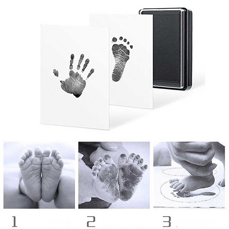 Baby Handprint Footprint Mold Pad Safe Easy To Clean No Mess Non-Toxic Ink Newborn Photo Hand Foot Print Pad Keepsake