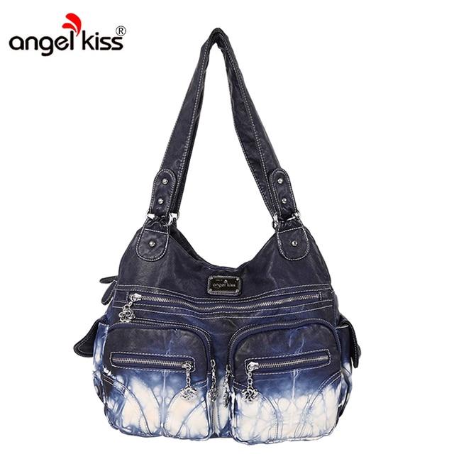 Angel Kiss Handbags Women Bags Designer Famous Brand Washed Pu Leatther Bag Female Shoulder Classic