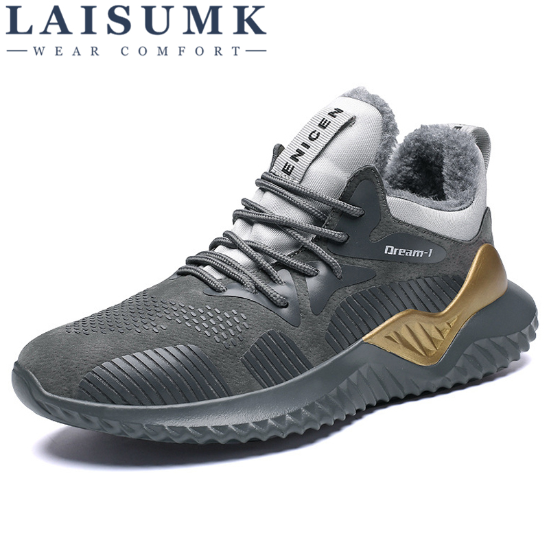 LAISUMK Men Winter Sneakers Autumn Casual Shoes Plush Keep Warm Walking Fashion For Large size
