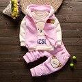 2016 Otoño Niños Juegos Del Bebé Niñas niños Ropa Conjuntos Lindo Bebé de Algodón Se Adapte A la Capa + Camiseta + Pantalones 3 Unids Engrosamiento Ropa Casual
