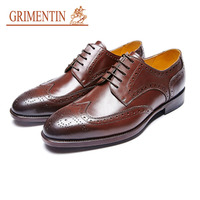 GRIMENTIN oxford shoes for men genuine leather black british business wedding shoes brand handmade shoes 2019 new hot sale
