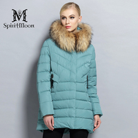 SpiritMoon 2017 New Winter Collection Woman Fashion Down Jacket Thickening Hooded Parka Winter Coat Raccoon Collar
